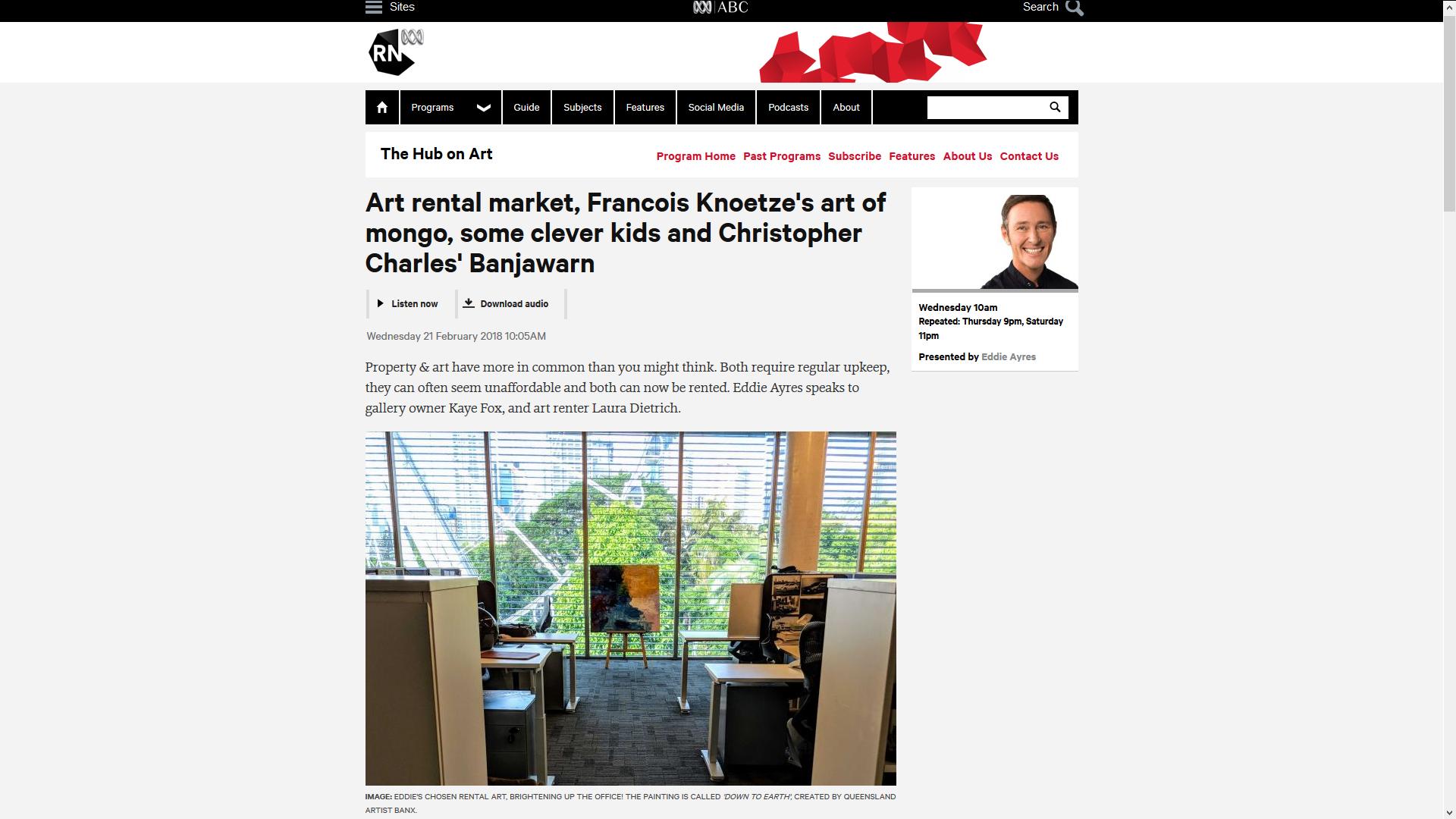 ABC - The Hub on Art by Eddies Ayres - 21.8.18