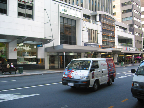 Our van on Queen St
