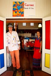 Photograph of Mike Banks and Kaye Fox in the entrance of our Gallery
