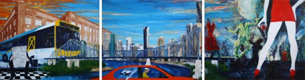 Brisbane Life Story - triptych by Banx MC6510