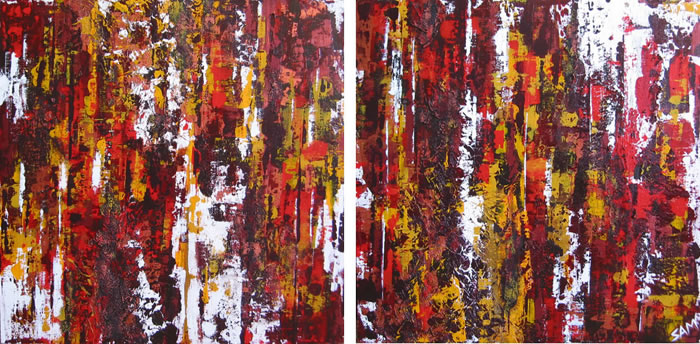 Firestorm - diptych by Samantha Matthews - 2 @ 610 x 610mm - MC5467