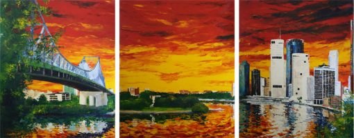 Iron, Energy, Mortar - The Story of Brisbane - triptych by Banx MC6595