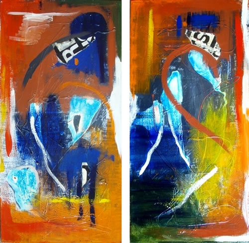 No Boundaries - diptych by Anne Foster - 2 @ 600 x 1200mm - MC6041