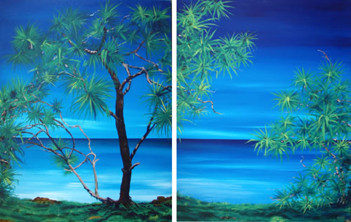 Pandanus - diptych 1 by Banx - 2 @ 900 x 1200mm - MC5163