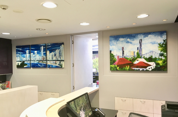 Skyline - triptych and Home Work by Banx 3@600x750 and 1300x900mm MC5622 and MC6723.